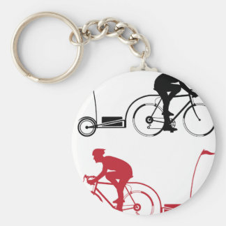 Cyclist with a trailer keychain