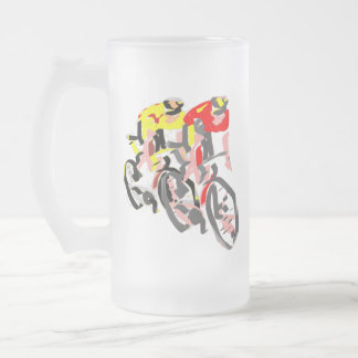 Cyclists Frosted Glass Beer Mug