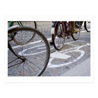 Cyclists on bicycle path postcard