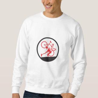 Cyclocross Athlete Running Uphill Circle Sweatshirt