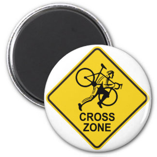 Cyclocross Zone Road Sign 2 Inch Round Magnet