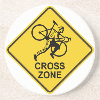 Cyclocross Zone Road Sign Coaster