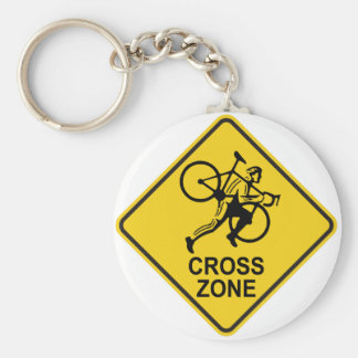 Cyclocross Zone Road Sign Keychain