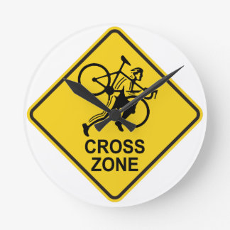 Cyclocross Zone Road Sign Round Clock