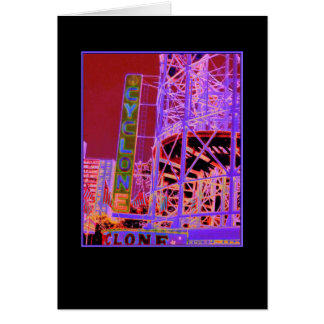 Cyclone Rollercoaster Psychedelic Blank Card