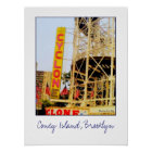 Cyclone Rollercoaster Sign Poster