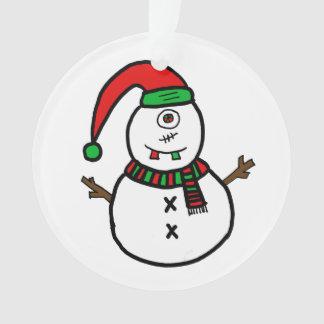 Cyclops Snowman Cute Monster Christmas Ornament