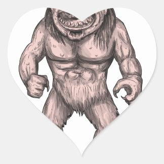 Cyclops Standing Tattoo Heart Sticker