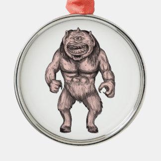 Cyclops Standing Tattoo Metal Ornament