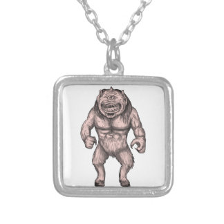 Cyclops Standing Tattoo Silver Plated Necklace