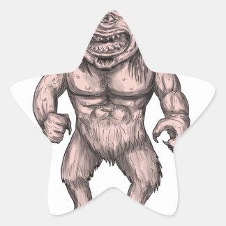 Cyclops Standing Tattoo Star Sticker