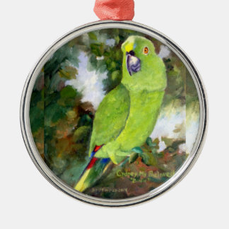 Cydney Yellow Naped Parrot Silver-Colored Round Ornament