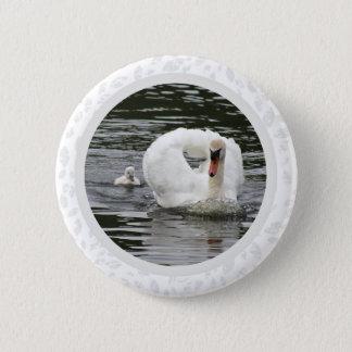Cygnet Following Swan 2 Inch Round Button