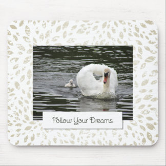 Cygnet Following Swan Mouse Pad