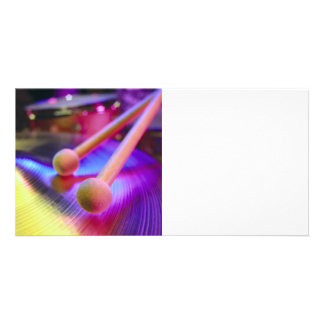Cymbal & Round Tip Drum Sticks Picture Card