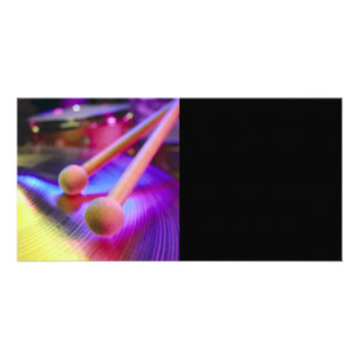 Cymbal & Round Tip Drum Sticks Custom Photo Card