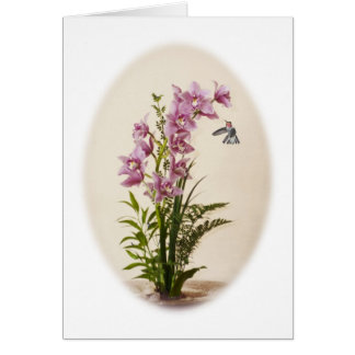 Cymbidium Orchid and Anna's Hummingbird Card