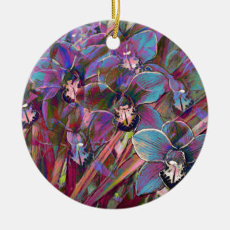 Cymbidium Orchid Carnival Ceramic Ornament