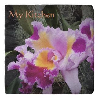 Cymbidium Orchid Flowers Shades of Purple Trivet