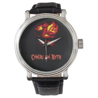 Cymru Am Byth Welsh Dragon Lantern Design Watch