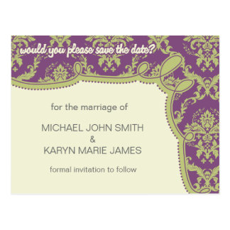 Cyndi Eggplant Purple and Green Save the Date Postcard