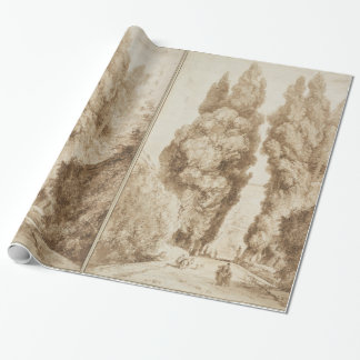 Cypress Avenue at Villa d Este Tivoli by Fragonard Wrapping Paper
