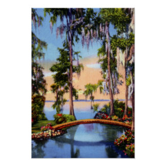 Cypress Gardens Florida Rustic Bridge over Canal Poster