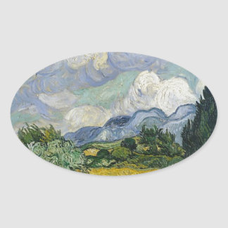 Cypress Grove and Wheat Field Oval Sticker