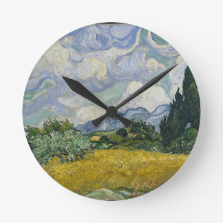 Cypress Grove and Wheat Field Round Clock