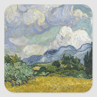 Cypress Grove and Wheat Field Square Sticker