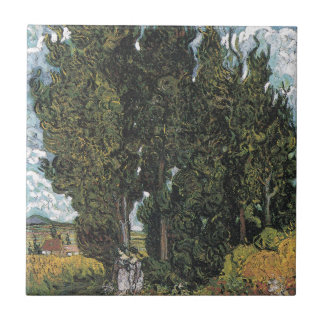 Cypress Trees by Van Gogh Tile