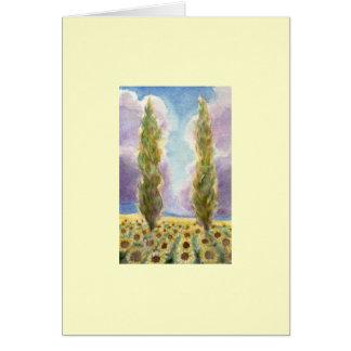 Cypress Trees in Sunflower Field Card