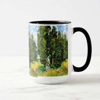 Cypresses with Two Women Van Gogh Fine Art Mug