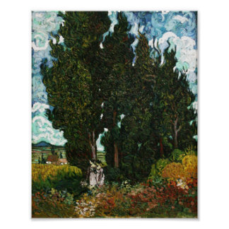 Cypresses with Two Women, Vincent van Gogh Poster