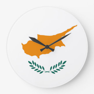 Cyprus country flag symbol long large clock
