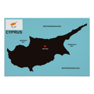 Cyprus country political map flag posters
