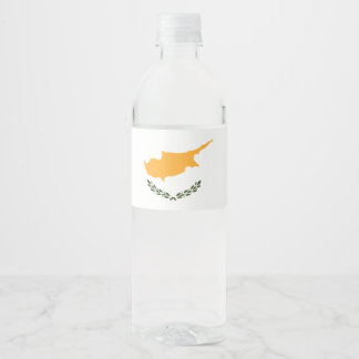 Cyprus Flag Water Bottle Label