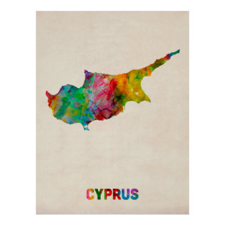 Cyprus Watercolor Map Poster