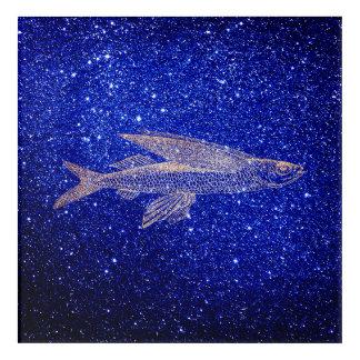 Cypselurus Flying Fish Ocean Sea Blue Navy Rose Acrylic Wall Art