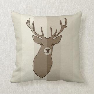 Cyril the Stag Brown Striped Cushion by Anna Bush Throw Pillow