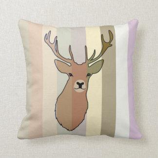 Cyril the Stag Striped Cushion by Anna Bush