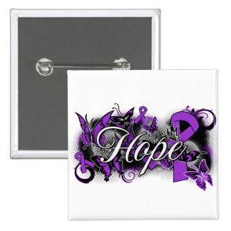 Cystic Fibrosis Hope Garden Ribbon 2 Inch Square Button
