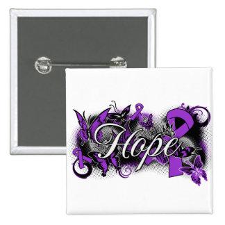 Cystic Fibrosis Hope Garden Ribbon 2 Inch Square Button