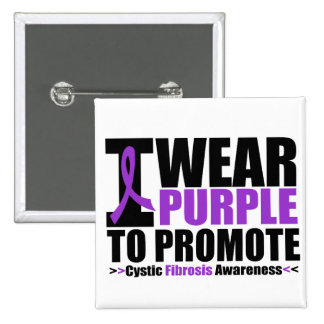 Cystic Fibrosis I Wear Purple To Promote Awareness 2 Inch Square Button