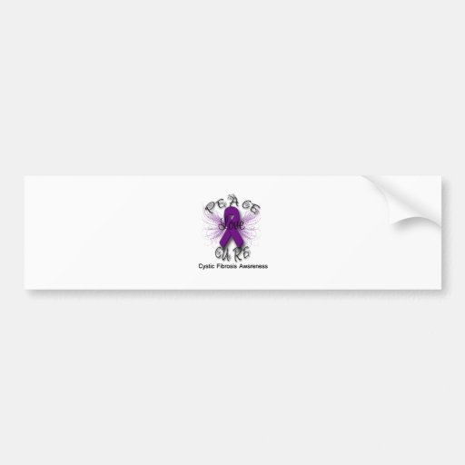 Cystic Fibrosis Peace Love Cure Butterfly 2 Bumper Stickers