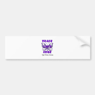 Cystic Fibrosis Peace Love Cure Butterfly Bumper Sticker