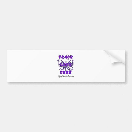 Cystic Fibrosis Peace Love Cure Butterfly Bumper Stickers
