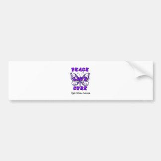 Cystic Fibrosis Peace Love Cure Butterfly Car Bumper Sticker