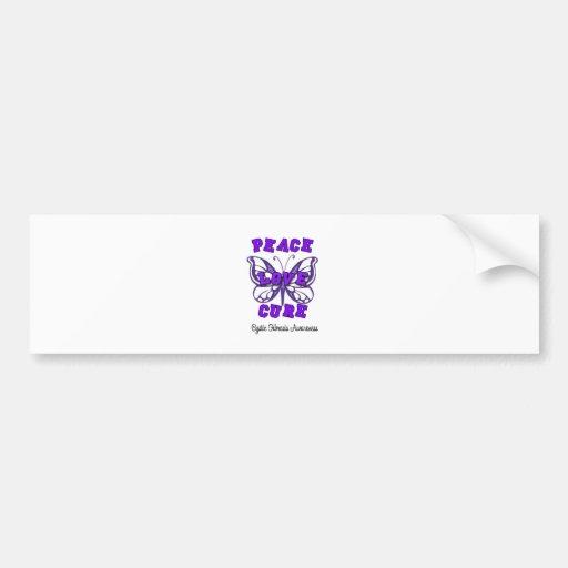 Cystic Fibrosis Peace Love Cure Butterfly Bumper Sticker
