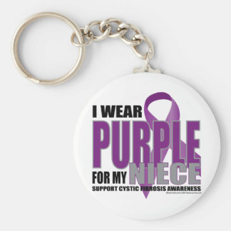 Cystic Fibrosis: Purple for Niece Basic Round Button Keychain